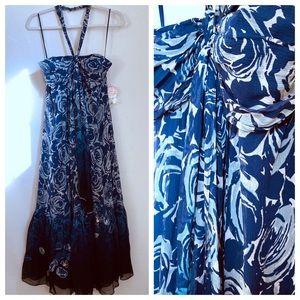 NWT Rebecca Taylor Blue Floral Halter Dress size 6